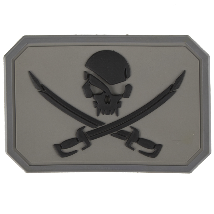 Paintball / Airsoft PVC Klettpatch (Pirate, grey)