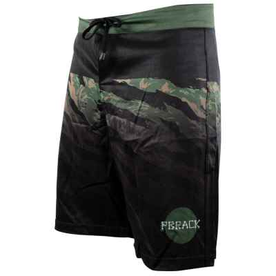 Pbrack Board Shorts (Schwarz/Grün Camo) | Paintball Sports