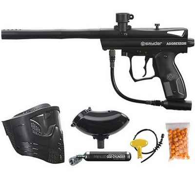 Spyder Aggressor Paintball Markierer Sparpaket / Einsteiger Paket Maske Co2 | Paintball Sports