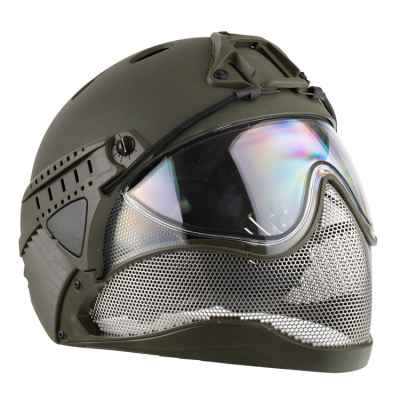WarQ Fullface Airsoft Schutzhelm (OLIV) | Paintball Sports