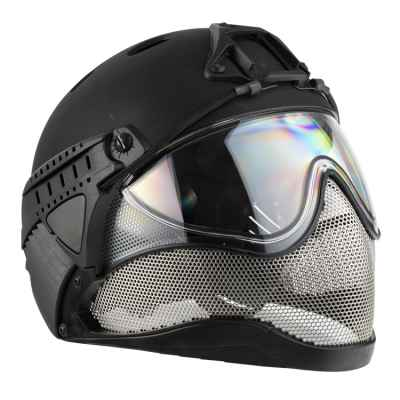 WarQ Fullface Airsoft Schutzhelm (BLACK) | Paintball Sports