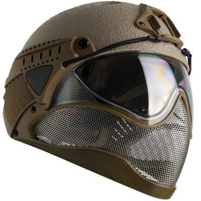 WarQ Fullface Airsoft Schutzhelm (RAPTOR-Tan) | Paintball Sports