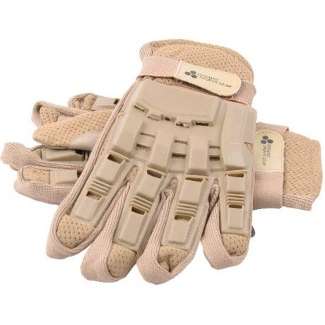Paintball Vollfinger Handschuhe mit Protektoren (Desert/Tan) | Paintball Sports