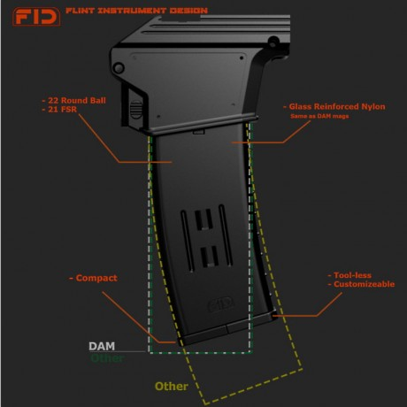 FID Dye DAM / EMEK MG100 Continous Feed 22 Rounds Magazin (schwarz) | Paintball Sports