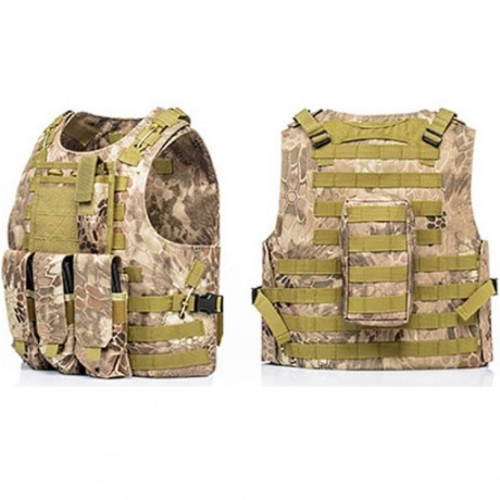 Tactical Paintball Molle Weste mit Taschen (Kryptec Desert Camo) | Paintball Sports