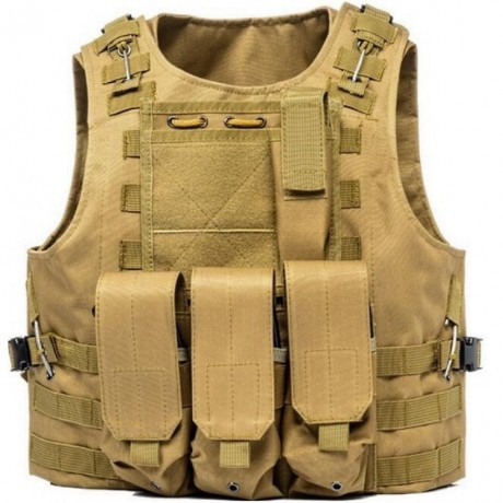 Tactical Paintball Molle Weste mit Taschen (Desert / Tan) | Paintball Sports