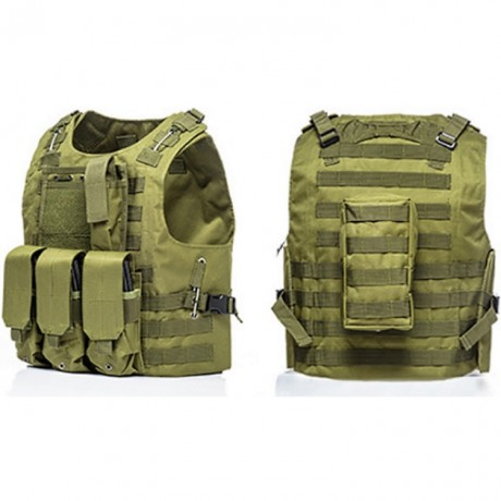 Tactical Paintball Molle Weste mit Taschen (oliv) | Paintball Sports