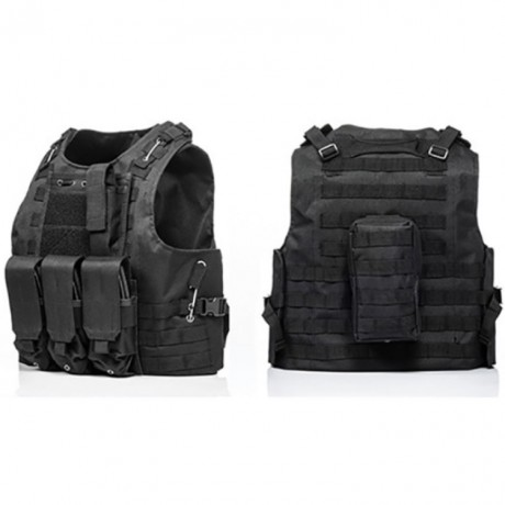 Tactical Paintball Molle Weste mit Taschen (schwarz) | Paintball Sports