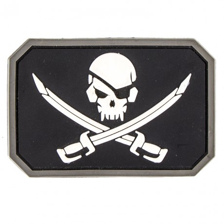 Paintball / Airsoft PVC Klettpatch (Pirate, schwarz/weiss) | Paintball Sports