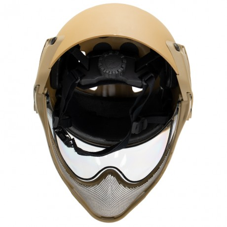 WarQ Fullface Airsoft Schutzhelm (TAN) | Paintball Sports